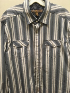 Blue western snap button shirt