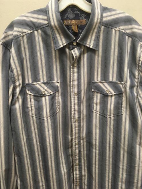 Blue western snap button shirt