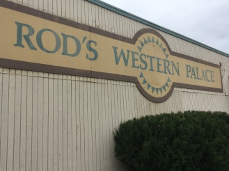 Rod's Western Palace sign on the outside the store.