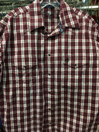 I found this George Straight western snap button shirt at a thrift store.