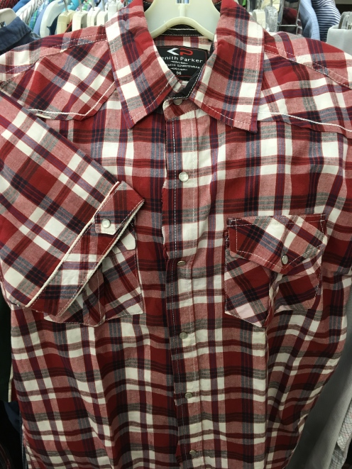 Red striped snap button shirt