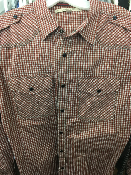 I found this Heritage 1981 snap button shirt at a local Goodwill store.