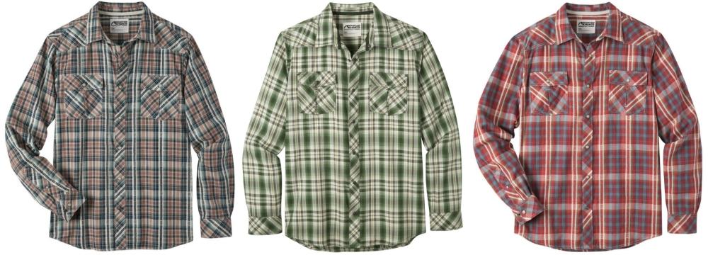 Mountain Khakis Rodeo Snap Button Shirt: Twilight, Rainforest & Engine Red