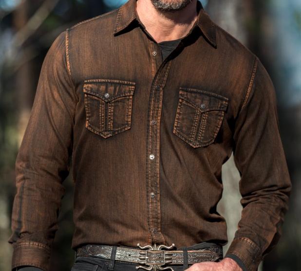 Snap Button Shirt of the Day: Ryan Michael - Burnt Mountain Denim Shirt