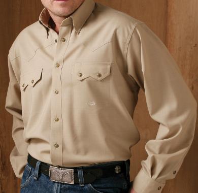 Wool Snap Button Shirt: Miller Ranch - Khaki Fine Wool Shirt