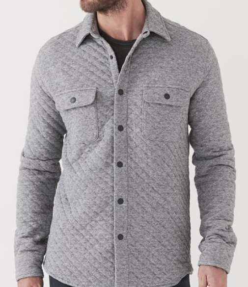 Snap Button Shirt of the Day: Faherty - Quilted Snap Shirt Jacket - Grey Feeder Stripe