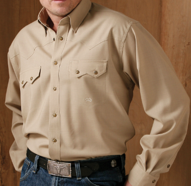 Snap Button Shirt of the Day: Miller Ranch - Khaki Fine Wool Shirt