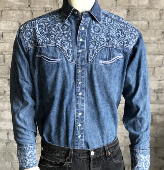 Snap Button Shirt of the Day: Rockmount - Floral Tooling Embroidered Denim Shirt