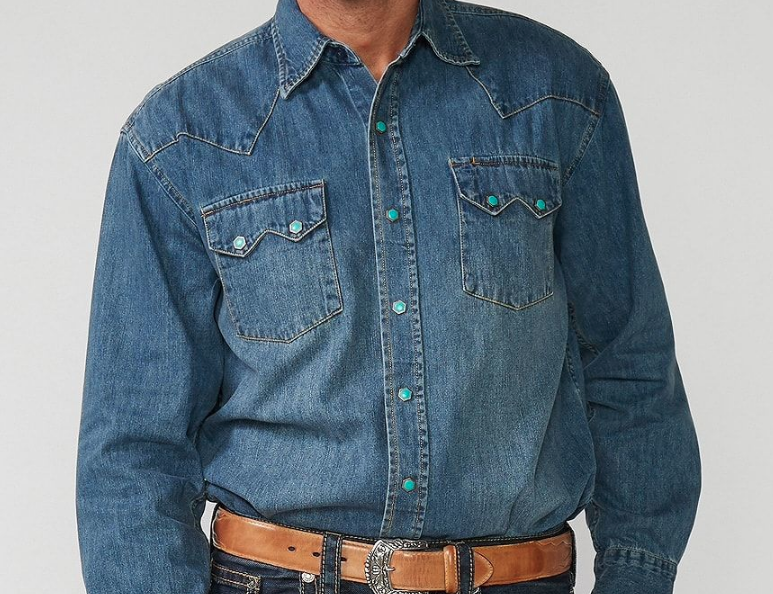 Snap Button Shirt of the Day: Stetson - Classic Turquoise Snap Front Western Denim Shirt