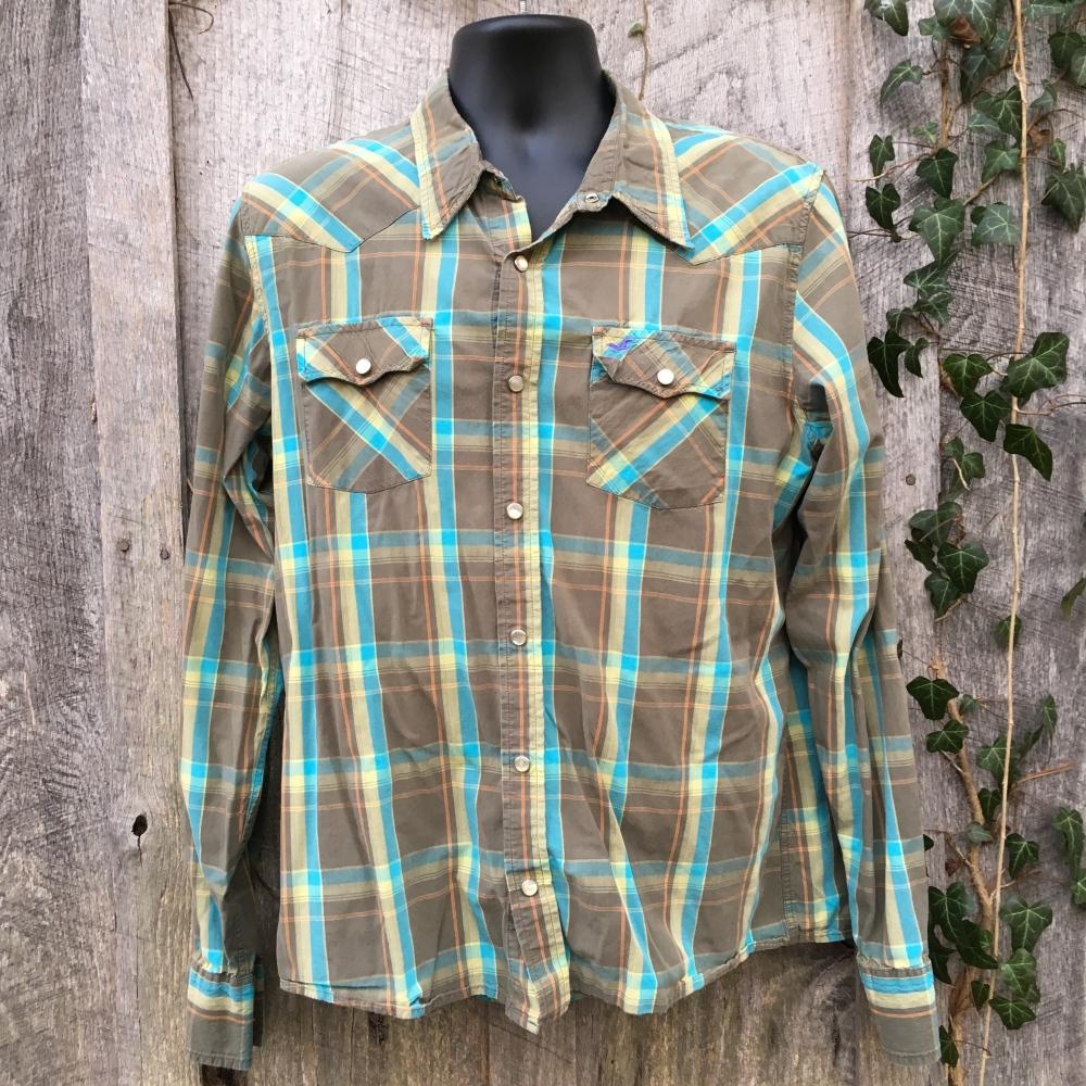snap-button-western-shirt-hollister-green-plaid-xl