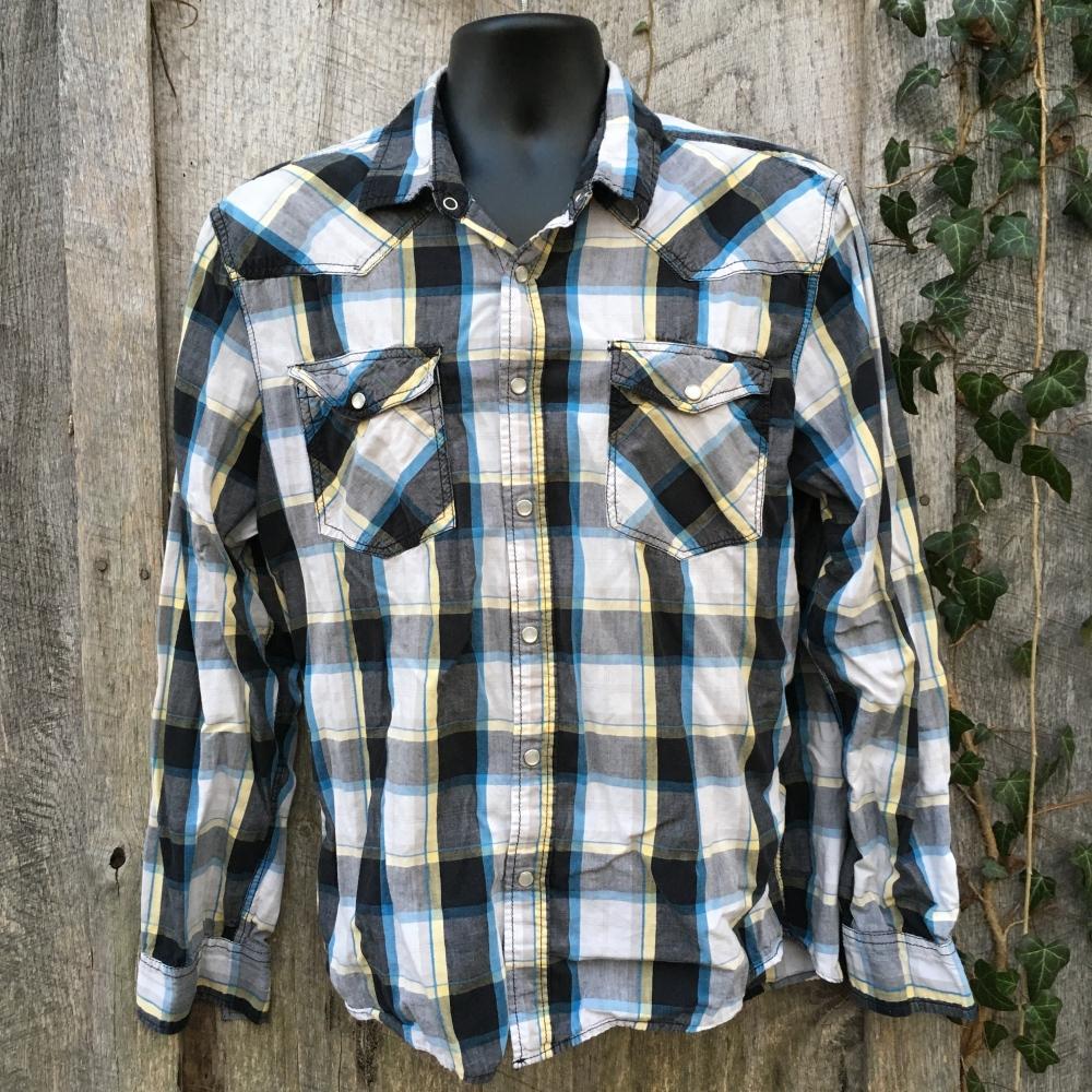 snap-button-western-shirt-jnco-crownbrand-black-yellow-plaid-xxl