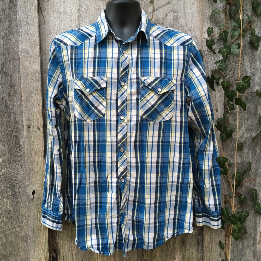 snap-button-western-shirt-old-navy-blue-plaid-large