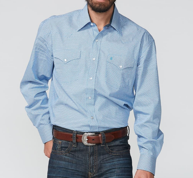 Snap Button Shirt of the Day: Stetson - Classic Snap Front Western Shirt in Linked Geo