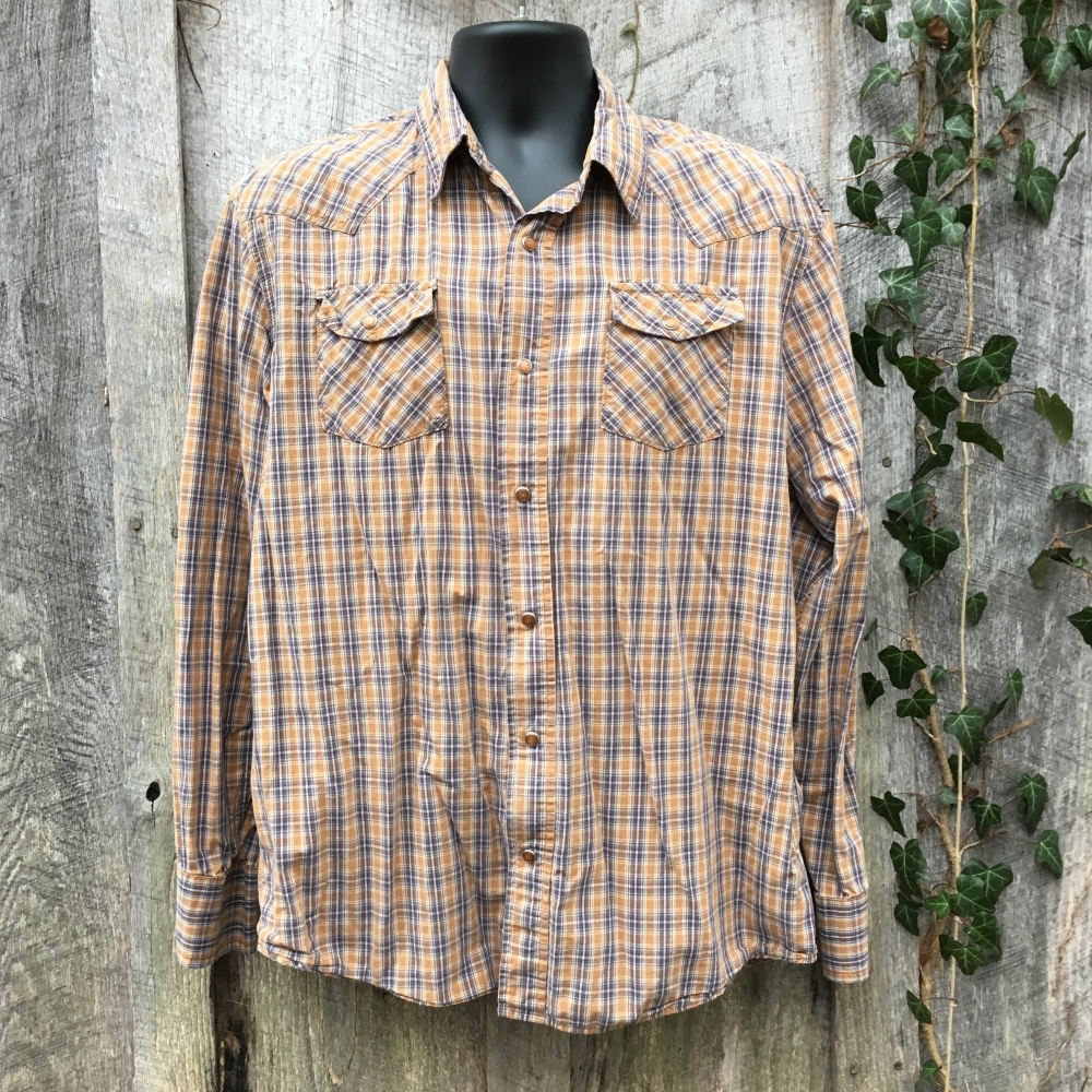 snap-button-western-shirt-aeropostale-brown-plaid-authentic-fit
