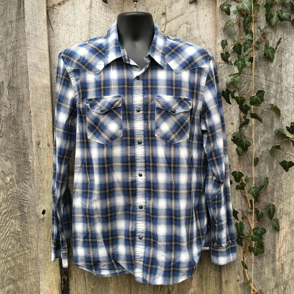 snap-button-western-shirt-american-eagle-outfitter-blue-plaid-xl