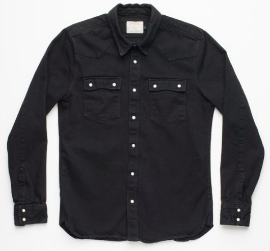 Snap Button Shirt of the Day: Freenote Cloth - Modern Western Black Denim