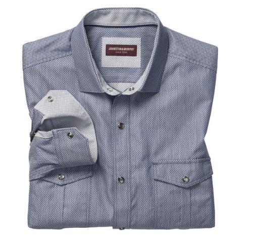 Snap Button Shirt of the Day: Johnston & Murphy - Pindot Diamond Snap-Front Shirt