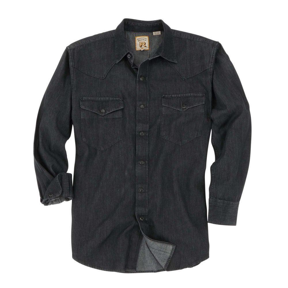 Snap Button Shirt of the Day: Resistol - Rawlins in Black Denim