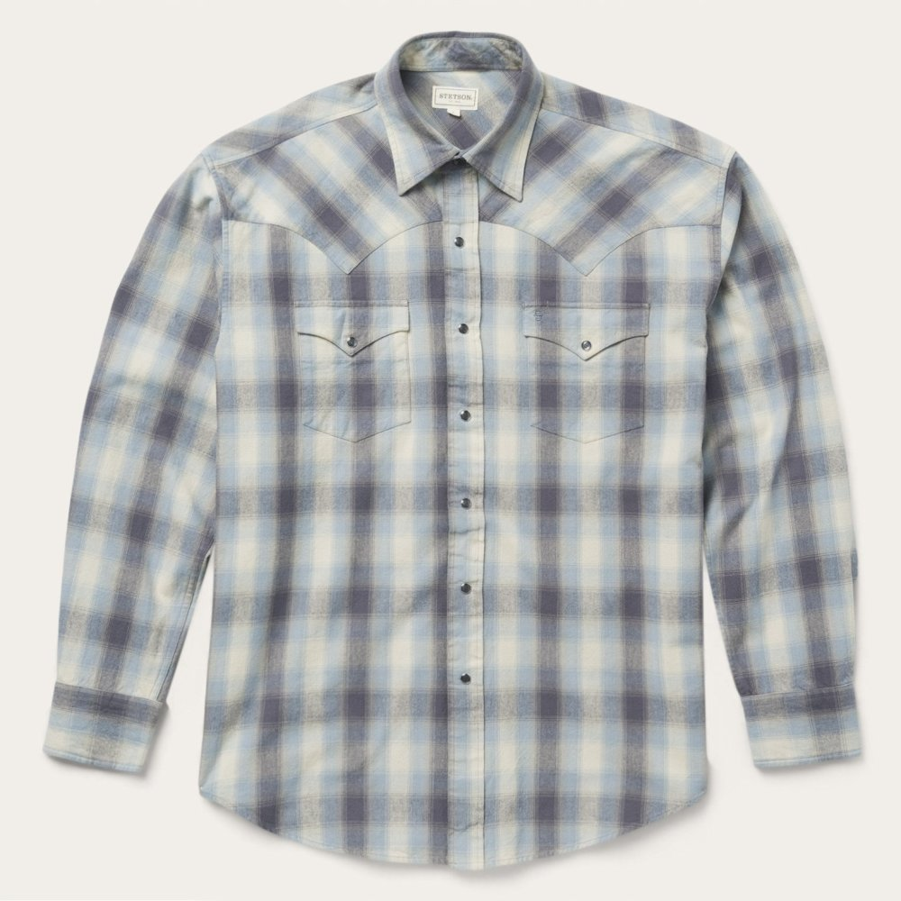 Snap Button Shirt of the Day: Stetson - Charcoal Brushed Twill Flannel