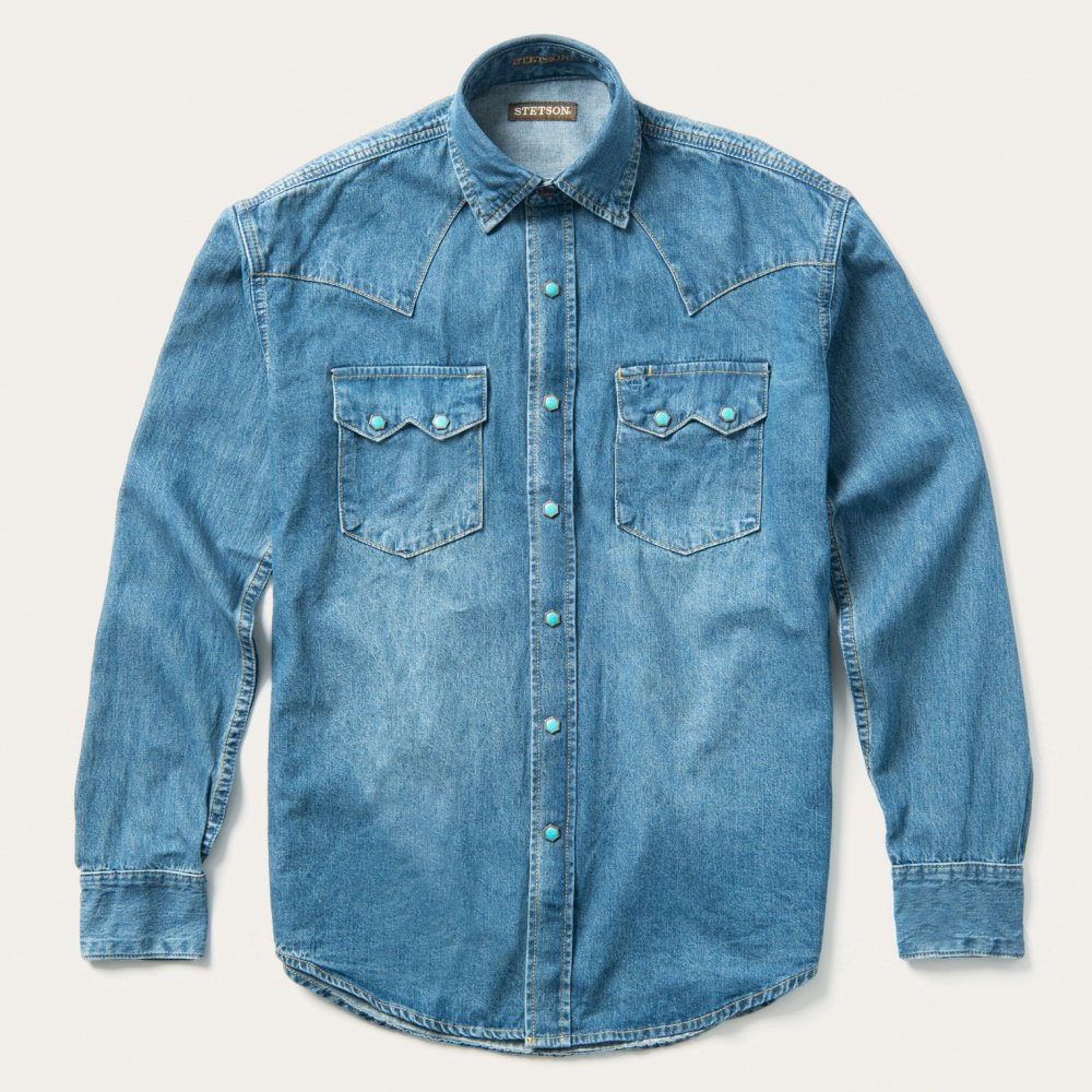 Snap Button Shirt of the Day: Stetson - Turquoise Snap Western Denim Shirt