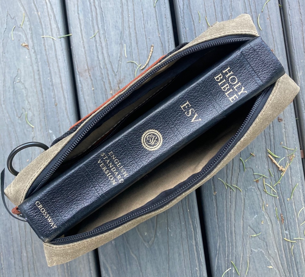 Just for fun. Here is a larger (normal size) Bible inside the Man Bag, Dammit. This Bible is too big for the MBD so pair your smaller Bibles with this Nutsac bag.